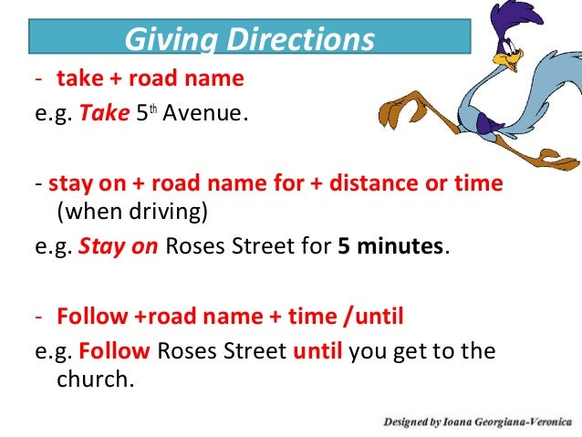 how to tell directions in english