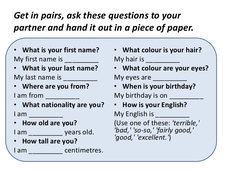 beginners prompt sheet for a personal information exchange. - ESL ...