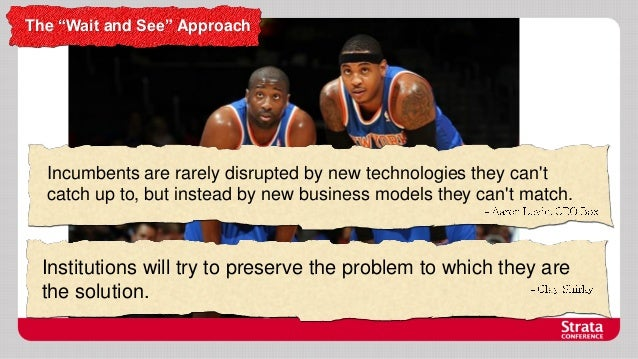 """The """"Wait and See"""" Approach  Incumbents are rarely disrupted by new technologies they can't catch up to, but instead by ne..."""