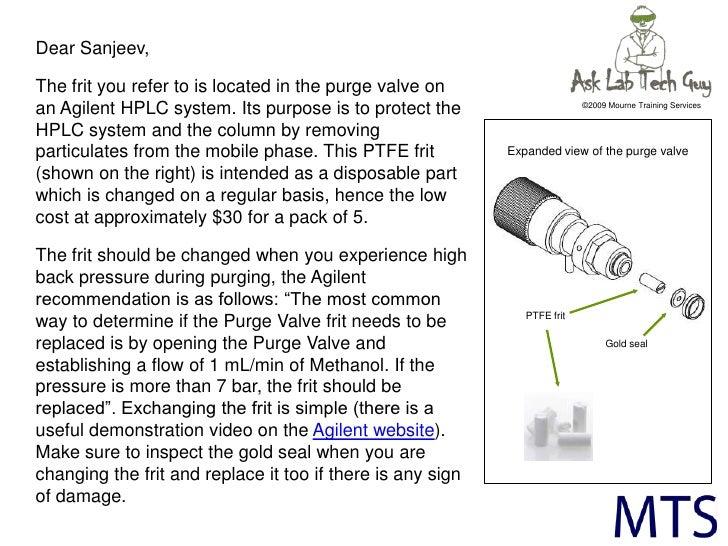 Lab Tech Guy on Agilent HPLC purge valve frits