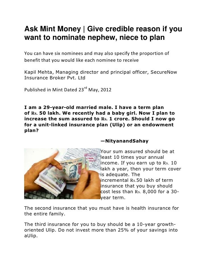 Ask Mint Money | Give credible reason if youwant to nominate nephew, niece to planYou can have six nominees and may also s...