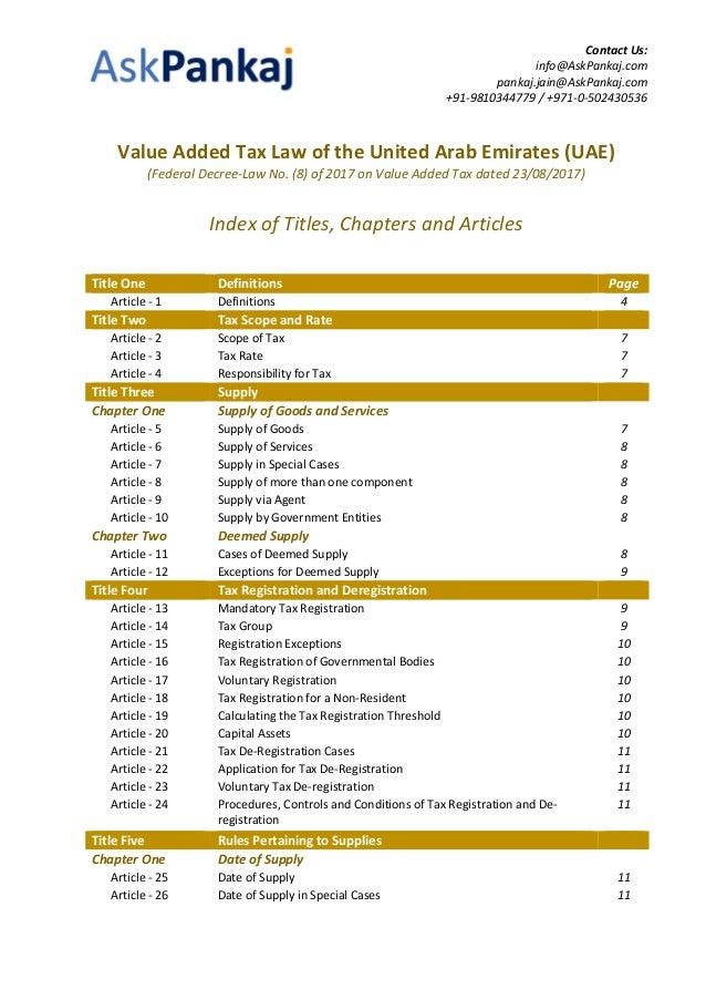 Askpankaj Value Added Tax Vat Law Of The United Arab