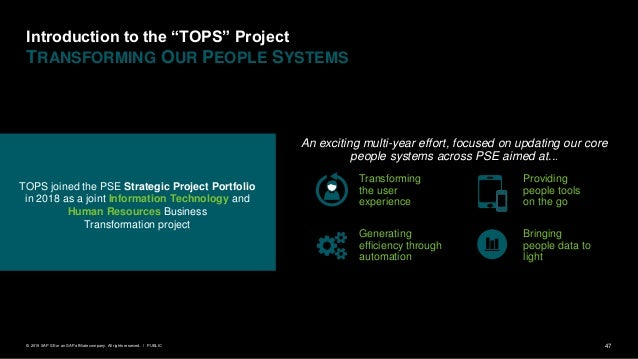 """47PUBLIC© 2019 SAP SE or an SAP affiliate company. All rights reserved. ǀ Introduction to the """"TOPS"""" Project TRANSFORMING ..."""
