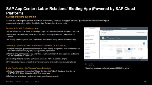 52PUBLIC© 2019 SAP SE or an SAP affiliate company. All rights reserved. ǀ SAP App Center: Labor Relations/ Bidding App (Po...