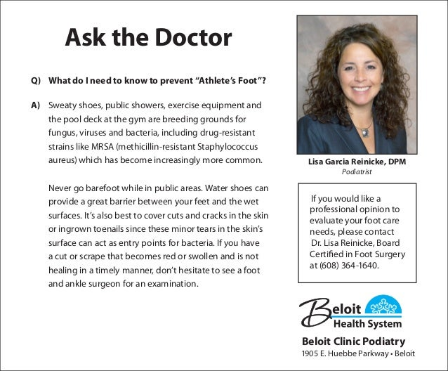 "ask the doctor what do i need to know to prevent ""athlete's foot"", Human Body"