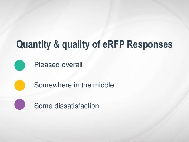 Pleased overall Somewhere in the middle Some dissatisfaction Quantity & quality of eRFP Responses