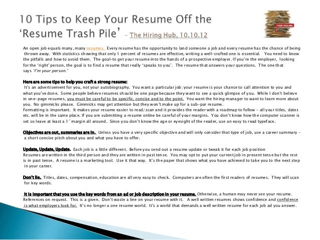 how should a resume be written