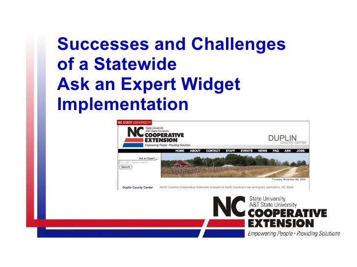 Successes and Challenges  of a Statewide  Ask an Expert Widget Implementation