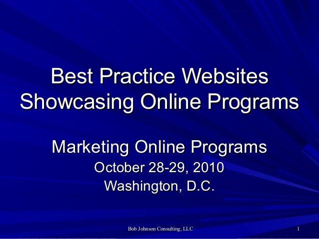 Bob Johnson Consulting, LLCBob Johnson Consulting, LLC 11 Best Practice WebsitesBest Practice Websites Showcasing Online P...