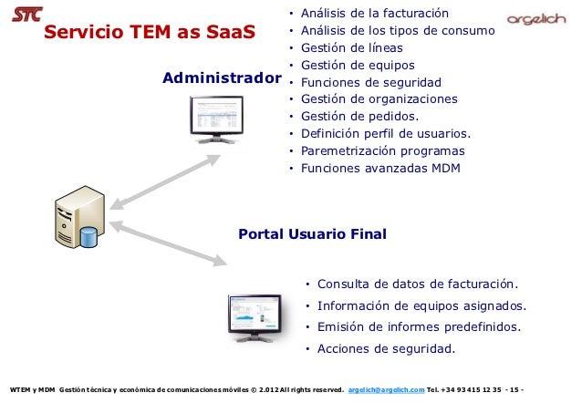 •   Análisis de la facturación         Servicio TEM as SaaS                                                 •   Análisis d...