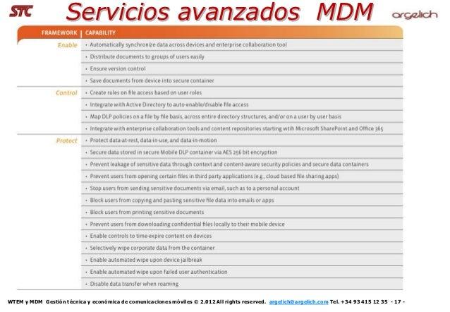 Servicios avanzados MDMWTEM y MDM Gestión técnica y económica de comunicaciones móviles © 2.012 All rights reserved. argel...
