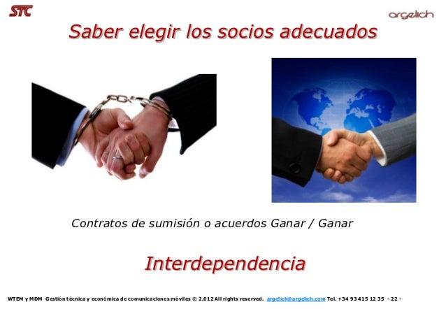 Saber elegir los socios adecuados                       Contratos de sumisión o acuerdos Ganar / Ganar                    ...