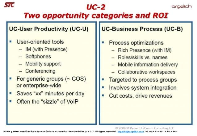 UC-2                Two opportunity categories and ROIWTEM y MDM Gestión técnica y económica de comunicaciones móviles © 2...