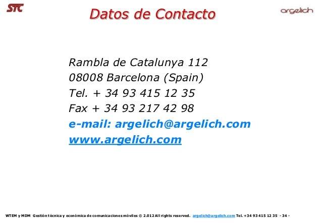 Datos de Contacto                                Rambla de Catalunya 112                                08008 Barcelona (S...