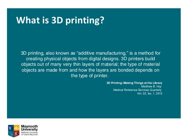 """What is 3D printing? 3D printing, also known as """"additive manufacturing,"""" is a method for creating physical objects from d..."""