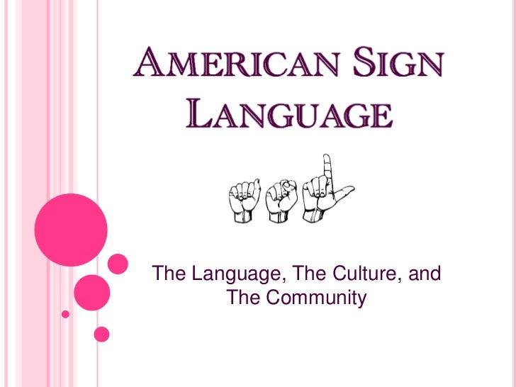 The Language, The Culture, and       The Community