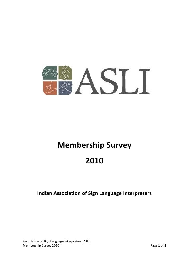 Membership Survey                                             2010             Indian Association of Sign Language Interpr...