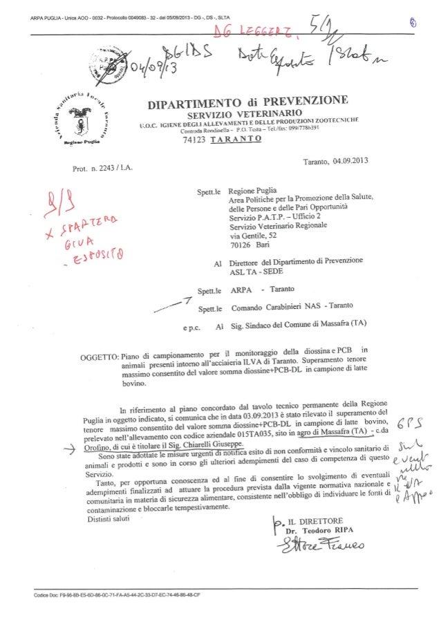 INFORMATIVA DELL'ASL DI TARANTO AL SINDACO DI MASSAFRA DEL 4 SETTEMBRE 2013