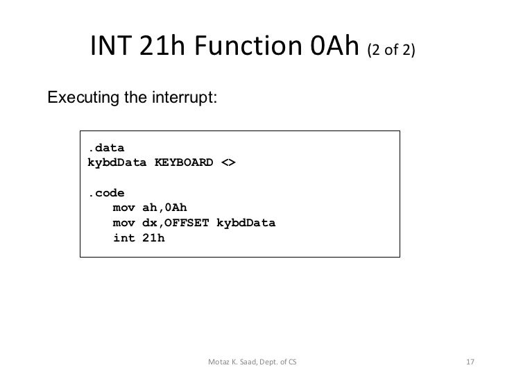 INT 16H FUNCTIONS DOWNLOAD