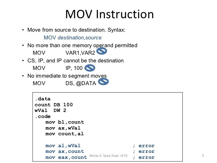 Chosing suffix (l-b-w) for mov instruction stack overflow.