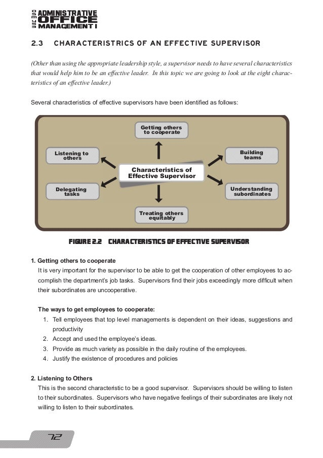 characteristics of a good supervisor