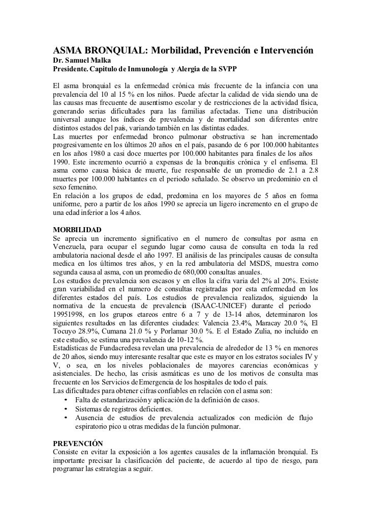 ASMA BRONQUIAL: Morbilidad, Prevención e Intervención Dr. Samuel Malka Presidente. Capitulo de Inmunología y Alergia de la...