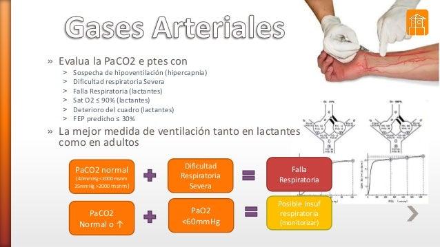 » Evalua la PaCO2 e ptes con ˃ Sospecha de hipoventilación (hipercapnia) ˃ Dificultad respiratoria Severa ˃ Falla Respirat...