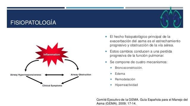 FISIOPATOLOGÍA  El hecho fisiopatológico principal de la exacerbación del asma es el estrechamiento progresivo y obstrucc...