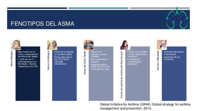 FENOTIPOS DEL ASMA AsmaAlérgica •Mas común en la niñez, antecedentes familiares de atopia. •↑ Infiltrado de C. inflamatori...