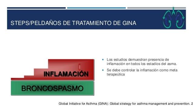STEPS/PELDAÑOS DE TRATAMIENTO DE GINA  Los estudios demuestran presencia de inflamación en todos los estadíos del asma. ...