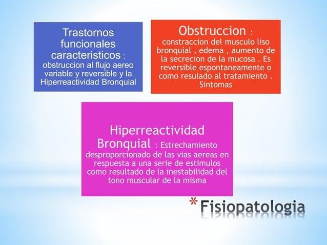 * Trastornos funcionales caracteristicos : obstruccion al flujo aereo variable y reversible y la Hiperreactividad Bronquia...