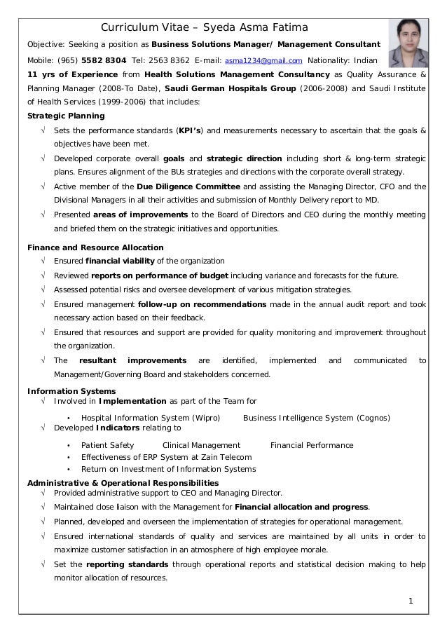 ... Management Consultant Resume. Curriculum Vitae U2013 Syeda Asma Fatima  Objective: Seeking A Position As Business Solutions Manager/ ...  Consultant Resume