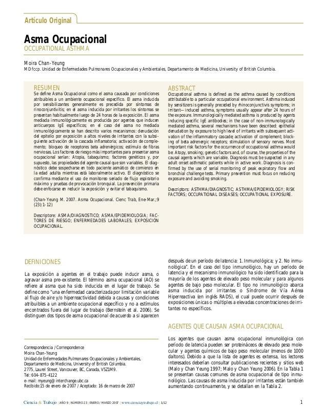 Asma OcupacionalOCCUPATIONAL ASTHMAArtículo OriginalDEFINICIONESLa exposición a agentes en el trabajo puede inducir asma, ...