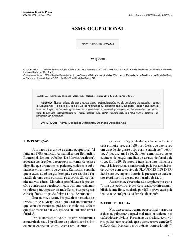 ASMA OCUPACIONALOCCUPATIONAL ASTHMAWilly SartiCoordenador da Divisão de Imunologia Clínica do Departamento de Clínica Médi...