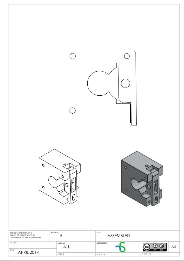B APRIL 2014 ALU ASSEMBLED WEIGHT: A4 SHEET 1 OF 1SCALE: 1:1 TITLE:REVISION: DOC ID: DATE: DESIGNED BY: DO NOT SCALE DRAWI...