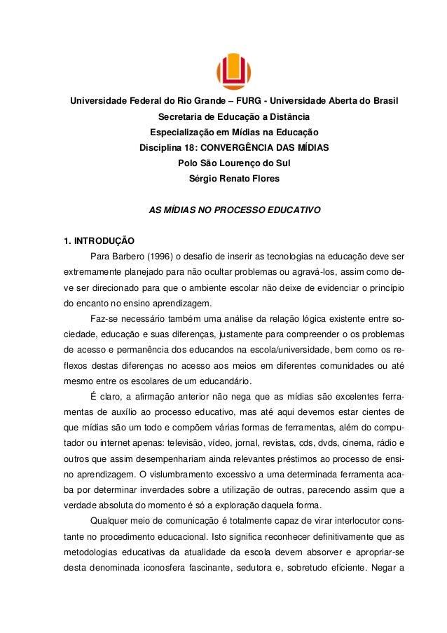 Universidade Federal do Rio Grande – FURG - Universidade Aberta do Brasil Secretaria de Educação a Distância Especializaçã...