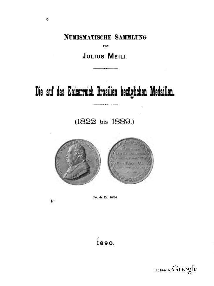 As medalhas referentes ao império do brasil   julius meili 1890