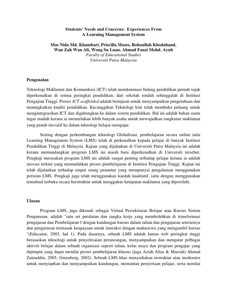 Students' Needs and Concerns:  Experiences From <br />A Learning Management System <br />Mas Nida Md. Khambari, Priscilla ...