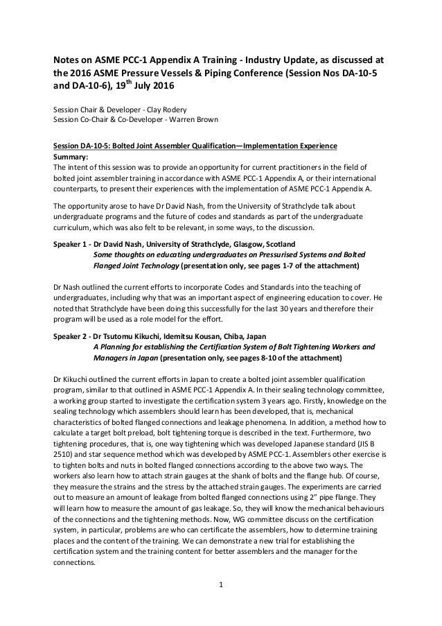 Asme Pvp 2016 Pcc 1 Appendix A Session Summary