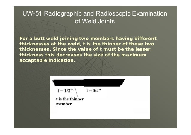 UW-52 Spot Examinations of Weld Joints (d) Evaluations and Retests When a spot, radiographed as required in (b)(1) or (b)(...