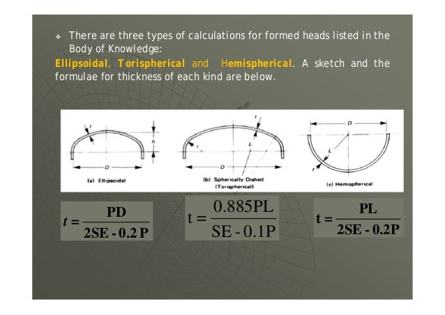  There are three types of calculations for formed heads listed in the Body of Knowledge: Ellipsoidal, Torispherical and H...