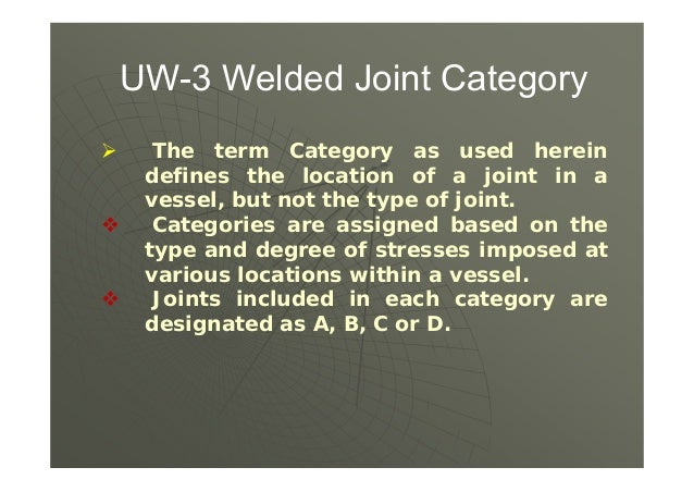  UW-2(a)(1)(b&c) &Interpretation VIII-1 92-211 - Category B & C welds shall be type 1 or 2 only (butt welded). No slip on...