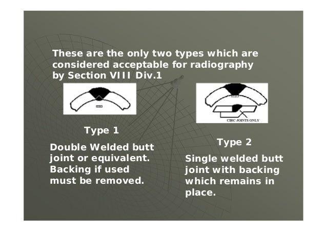 Examples: Type 3, single welded butt welded without backing not viewed internally -eg. small diameter pipe or assemblies w...