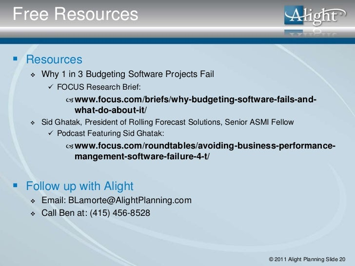 Free Resources Resources      Why 1 in 3 Budgeting Software Projects Fail         FOCUS Research Brief:              w...