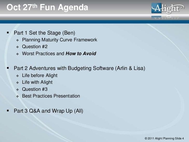 Oct 27th Fun Agenda Part 1 Set the Stage (Ben)      Planning Maturity Curve Framework      Question #2      Worst Prac...