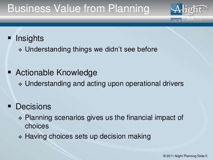 Business Value from Planning Insights     Understanding things we didn't see before Actionable Knowledge     Understan...