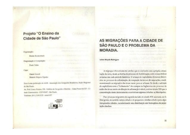 As migrações para a cidade de São  Paulo e o problema  da moradia