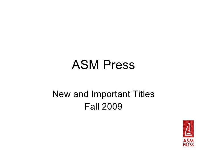 ASM Press New and Important Titles Fall 2009