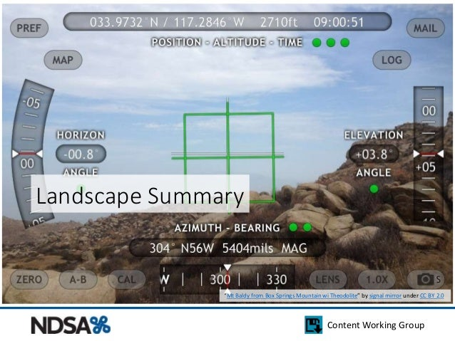 """Content Working Group  Landscape Summary  """"Mt Baldy from Box Springs Mountain wi Theodolite"""" by signal mirror under CC BY ..."""