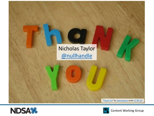 """Content Working Group  Nicholas Taylor  @nullhandle  """"Thank You"""" by vistamommy under CC BY 2.0"""
